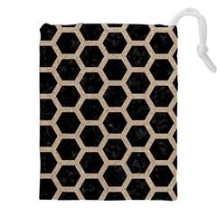 Hexagon2 Black Marble & Sand (r) Drawstring Pouches (xxl)