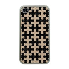 Puzzle1 Black Marble & Sand Apple Iphone 4 Case (clear)