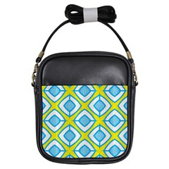 Blue Rhombus Pattern                                Girls Sling Bag