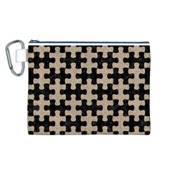 Puzzle1 Black Marble & Sand Canvas Cosmetic Bag (l)