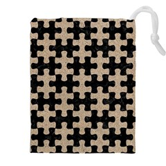Puzzle1 Black Marble & Sand Drawstring Pouches (xxl)