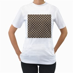 Scales3 Black Marble & Sand Women s T Shirt (white) (two Sided)