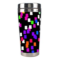 Colorful Rectangles On A Black Background                                 Stainless Steel Travel Tumbler