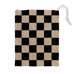 Square1 Black Marble & Sand Drawstring Pouches (extra Large)