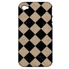 Square2 Black Marble & Sand Apple Iphone 4/4s Hardshell Case (pc+silicone)