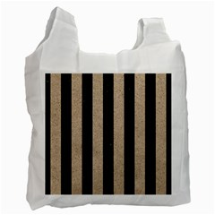 Stripes1 Black Marble & Sand Recycle Bag (one Side)