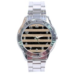 Stripes2 Black Marble & Sand Stainless Steel Analogue Watch