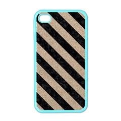 Stripes3 Black Marble & Sand Apple Iphone 4 Case (color)