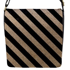 Stripes3 Black Marble & Sand Flap Messenger Bag (s)