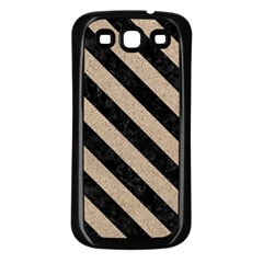 Stripes3 Black Marble & Sand Samsung Galaxy S3 Back Case (black)
