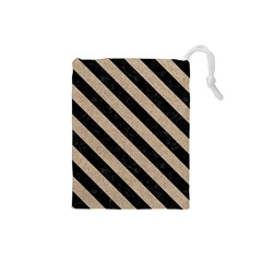 Stripes3 Black Marble & Sand Drawstring Pouches (small)