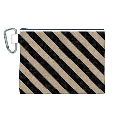 Stripes3 Black Marble & Sand Canvas Cosmetic Bag (l)