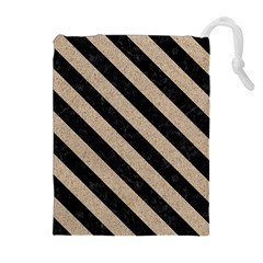 Stripes3 Black Marble & Sand Drawstring Pouches (extra Large)