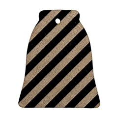 Stripes3 Black Marble & Sand (r) Bell Ornament (two Sides)