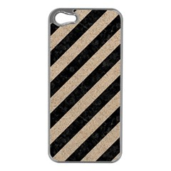 Stripes3 Black Marble & Sand (r) Apple Iphone 5 Case (silver)