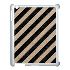 Stripes3 Black Marble & Sand (r) Apple Ipad 3/4 Case (white)