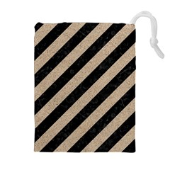 Stripes3 Black Marble & Sand (r) Drawstring Pouches (extra Large)