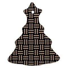 Woven1 Black Marble & Sand (r) Christmas Tree Ornament (two Sides)