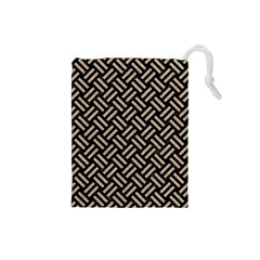Woven2 Black Marble & Sand (r) Drawstring Pouches (small)