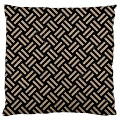 Woven2 Black Marble & Sand (r) Large Flano Cushion Case (one Side)