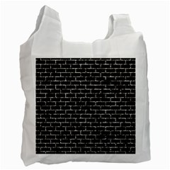 Brick1 Black Marble & Silver Foil (r) Recycle Bag (two Side)