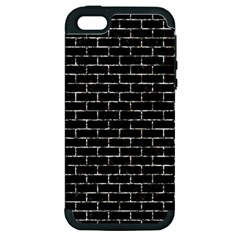 Brick1 Black Marble & Silver Foil (r) Apple Iphone 5 Hardshell Case (pc+silicone)