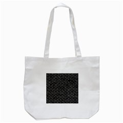 Brick1 Black Marble & Silver Foil (r) Tote Bag (white)
