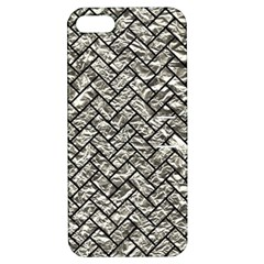 Brick2 Black Marble & Silver Foil Apple Iphone 5 Hardshell Case With Stand