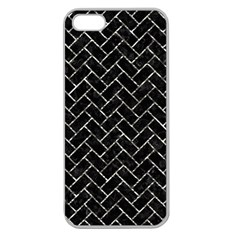 Brick2 Black Marble & Silver Foil (r) Apple Seamless Iphone 5 Case (clear)