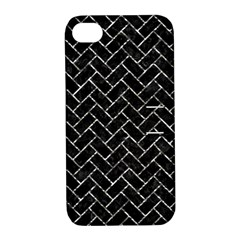 Brick2 Black Marble & Silver Foil (r) Apple Iphone 4/4s Hardshell Case With Stand