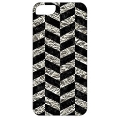 Chevron1 Black Marble & Silver Foil Apple Iphone 5 Classic Hardshell Case