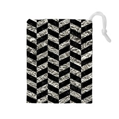 Chevron1 Black Marble & Silver Foil Drawstring Pouches (large)