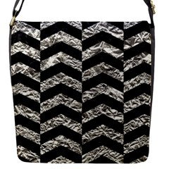 Chevron2 Black Marble & Silver Foil Flap Messenger Bag (s)