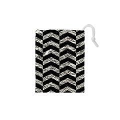 Chevron2 Black Marble & Silver Foil Drawstring Pouches (xs)