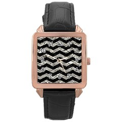 Chevron3 Black Marble & Silver Foil Rose Gold Leather Watch