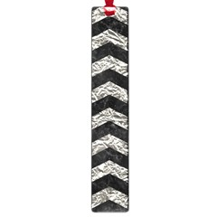 Chevron3 Black Marble & Silver Foil Large Book Marks