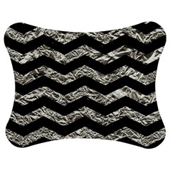 Chevron3 Black Marble & Silver Foil Jigsaw Puzzle Photo Stand (bow)