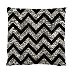 Chevron9 Black Marble & Silver Foil Standard Cushion Case (two Sides)
