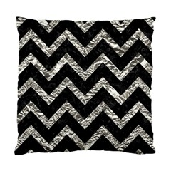 Chevron9 Black Marble & Silver Foil (r) Standard Cushion Case (two Sides)