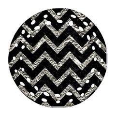 Chevron9 Black Marble & Silver Foil (r) Ornament (round Filigree)