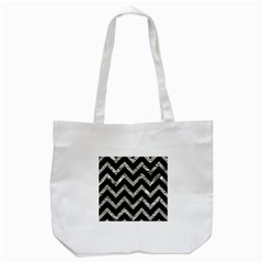 Chevron9 Black Marble & Silver Foil (r) Tote Bag (white)