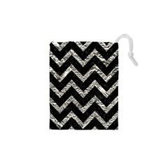 Chevron9 Black Marble & Silver Foil (r) Drawstring Pouches (xs)