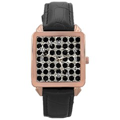 Circles1 Black Marble & Silver Foil Rose Gold Leather Watch