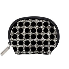 Circles1 Black Marble & Silver Foil Accessory Pouches (small)