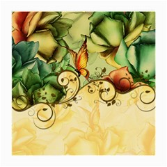 Wonderful Flowers With Butterflies, Colorful Design Medium Glasses Cloth