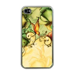 Wonderful Flowers With Butterflies, Colorful Design Apple Iphone 4 Case (clear)