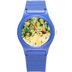 Wonderful Flowers With Butterflies, Colorful Design Round Plastic Sport Watch (s)