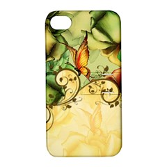 Wonderful Flowers With Butterflies, Colorful Design Apple Iphone 4/4s Hardshell Case With Stand