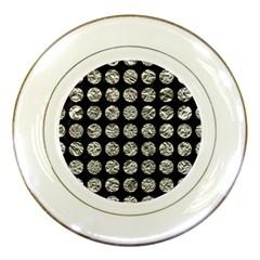 Circles1 Black Marble & Silver Foil (r) Porcelain Plates