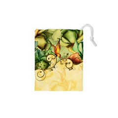 Wonderful Flowers With Butterflies, Colorful Design Drawstring Pouches (xs)